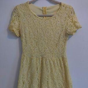 pale yellow lace dress